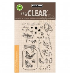 Hero Arts Clear Stempel - Mason Jar Bugs