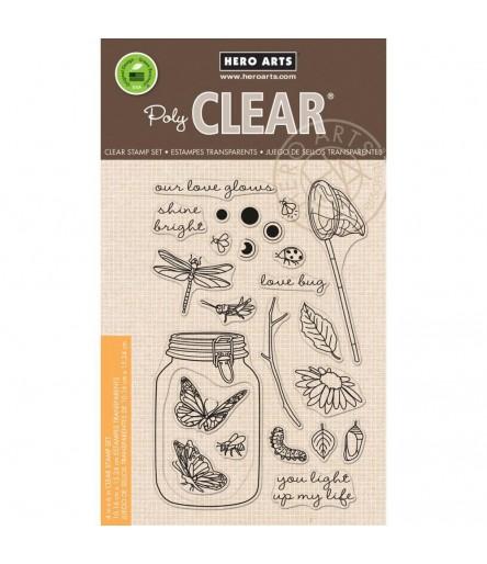 Hero Arts Clear Stempel - Mason Jar Bugs