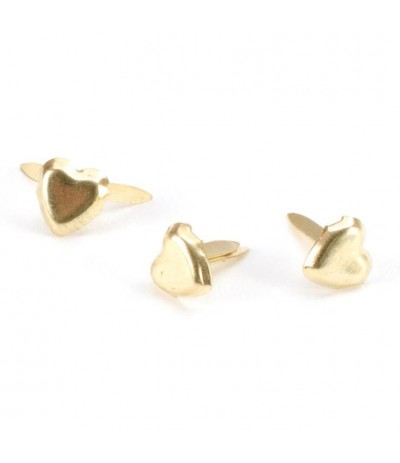 Mini Heart Brads gold