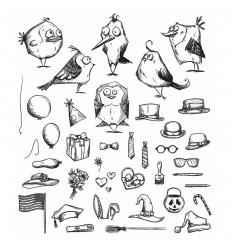 Mini Bird Crazy & Things Cling Stempel Set - Tim Holtz