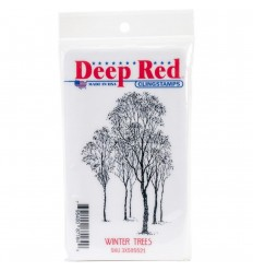 Winter Trees Cling Stempel - Deep Red