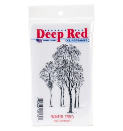 Deep Red Cling Stempel Winter Trees