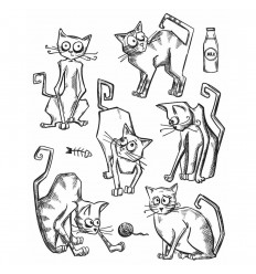 Tim Holtz Cling Stempel Set Crazy Cats