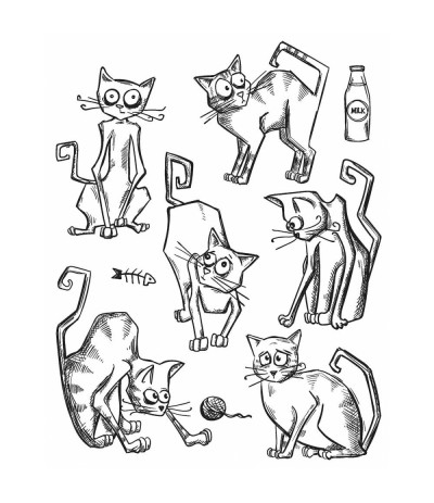 Crazy Cats Cling Stempel Set - Tim Holtz