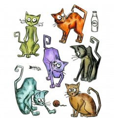 Stanzschablonen Crazy Cats - Sizzix / Tim Holtz