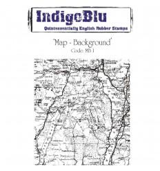 Map-Background Cling Stempel - Indigo Blu