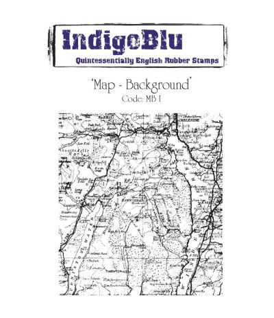 Map-Background Cling Stempel - Indigo Blu