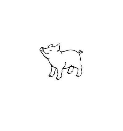 Mini Stempel Schwein stehend