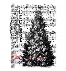 December Tree Cling Stempel - Deep Red