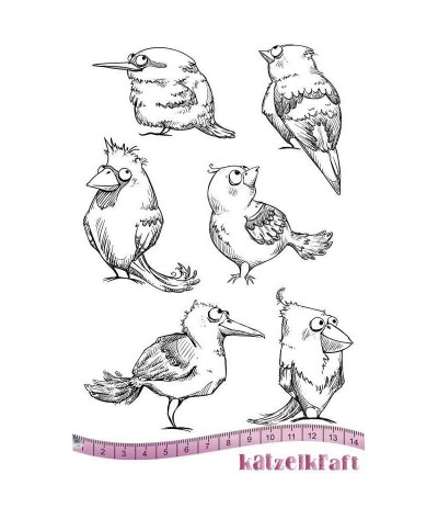 Vögel Gummistempel unmontiert - Katzelkraft