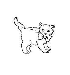 Mini Stempel Katze stehend