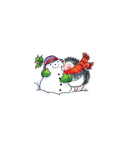 Igel mit Schneemann Stempel