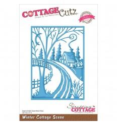 Winter Cottage Scene Stanzschablone - Cottage Cutz