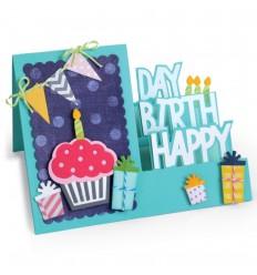 Stanzschablonen Happy Birthday Karte - Sizzix