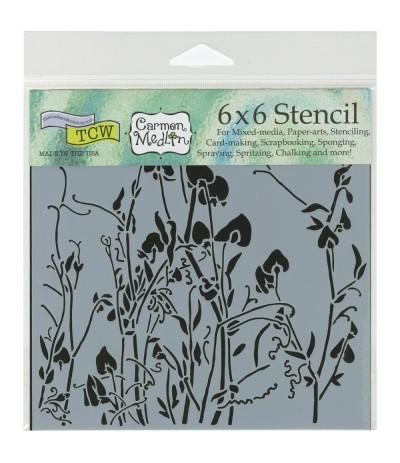 """Sweetpeas Stencil Schablone, 6""""x6"""" - TCW"""