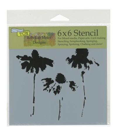 Cone Flowers Stencil Schablone 6x6 - TCW