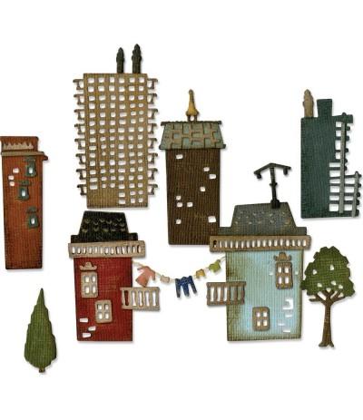 Stanzschablone Vorstadt Skyline - Tim Holtz / Sizzix