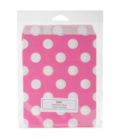 Papiertüten pink, gepunktet, 12 Stk. - SRM