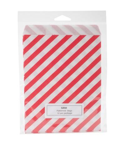 Papiertüten rot, gestreift, 12 Stk. - SRM