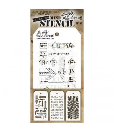 Stencil Schablonen Mini Set Nr. 15 - Tim Holtz
