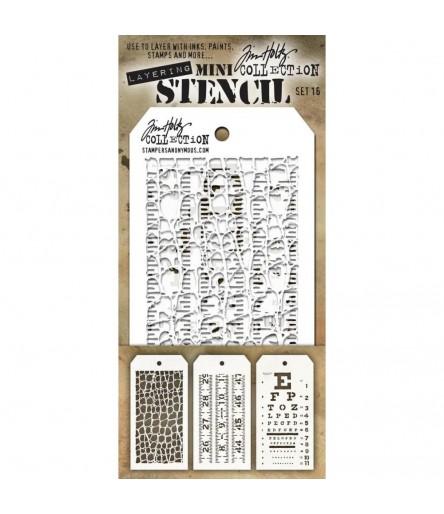 Stencil Schablonen Mini Set Nr. 16 - Tim Holtz