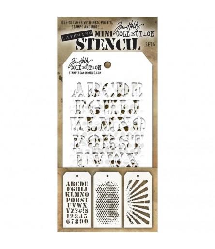 Stencil Schablonen Mini Set Nr. 5 - Tim Holtz