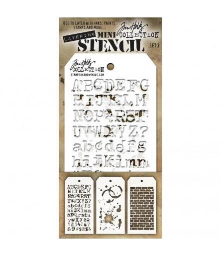 Stencil Schablonen Mini Set Nr. 3 - Tim Holtz
