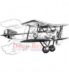 Cling Stempel Vintage Biplane - Deep Red
