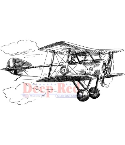 Cling Stempel Vintage Biplane - Deep Red