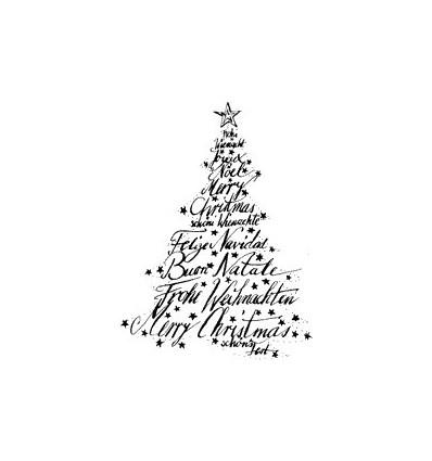 Text Weihnachts Baum Stempel