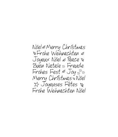 Frohe Weihnachten 4 Sprachen Holzstempel