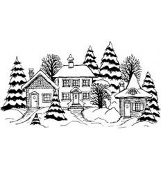 Dorf im Schnee Holzstempel