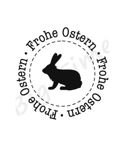 Frohe Ostern Text mit Hase Stempel