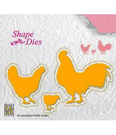 Stanzschablone Chicken Family - Nellie Snellen