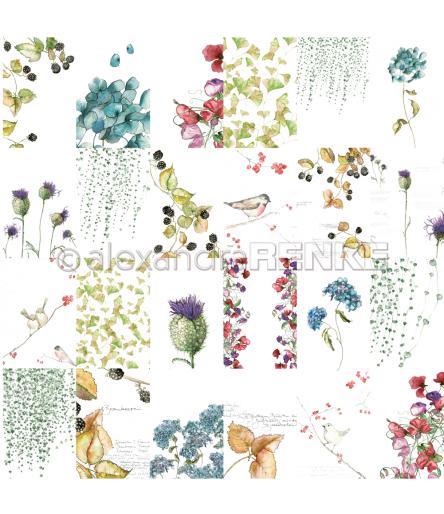 Scrapbooking Papier Kärtchenbogen Blumen Herbst - Alexandra Renke
