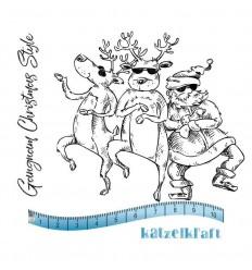 Christmas gangnam style Gummistempel, unmontiert - Katzelkraft