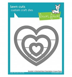 Stanzschablonen Outside In Stiched Hearts - Lawn Fawn
