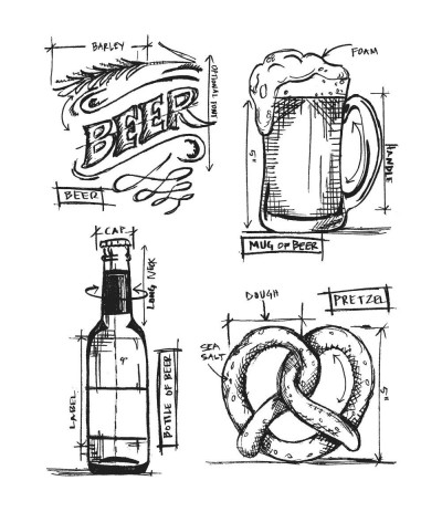 Cling Stempel Set Beer Blueprint - Tim Holtz