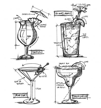 Cling Stempel Set Cocktails Blueprint - Tim Holtz