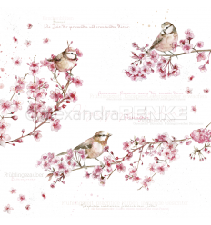Scrapbooking Papier Vögel in Kirschblüten - Alexandra Renke
