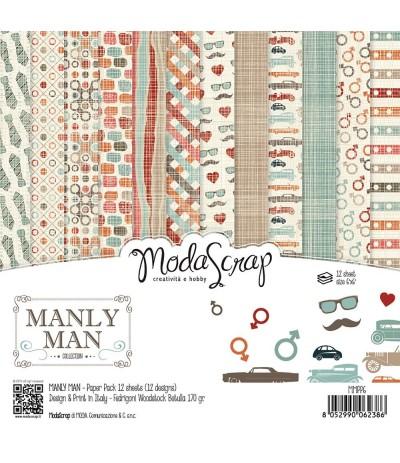 Scrapbooking Papier Manly Man, 15x15cm - Moda Scrap