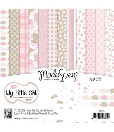 Scrapbooking Papier My Little Girl, 15x15cm - Moda Scrap