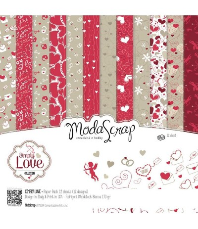 Scrapbooking Papier Simply Love, 30.5x30.5cm - Moda Scrap