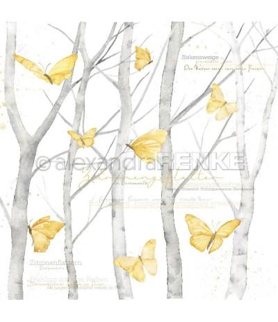 Scrapbooking Papier Schmetterlinge im Birkenwald - Alexandra Renke