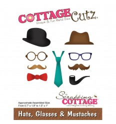 Stanzschablone Hats, Glasses & Mustaches - Cottage Cutz