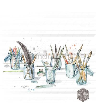 Scrapbooking Papier Künstlerschreibtisch - Alexandra Renke