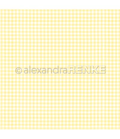Scrapbooking Papier Küchenkaro zitronengelb - Alexandra Renke