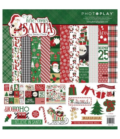 "Scrapbooking Papier Here Comes Santa, 12"" X 12"" - Photo Play"