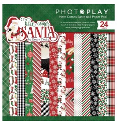 "Scrapbooking Papier Here Comes Santa, 6"" X 6"" - Photo Play"