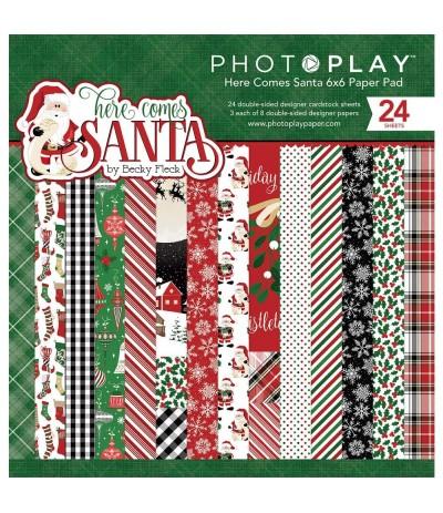 "Scrapbooking Papier Here Comes Santa, 6"" X 6"" - Photo Play"